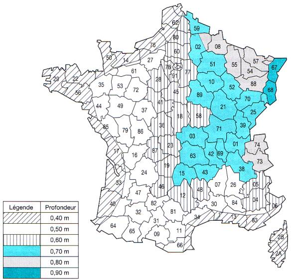 Fondations des b timents for Cote hors gel